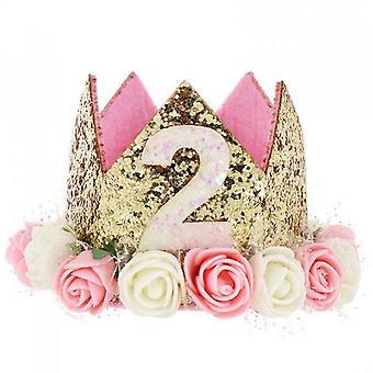 Baby prinses tiara kroon, baby verjaardag hoed (set2)