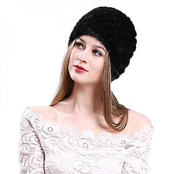 Evago Knitted Mink Hair For Women Winter Warm Real Mink Fur Hat Knit Skull Cap Luxurious Hats Hand Made Natural Mink Hair Hats