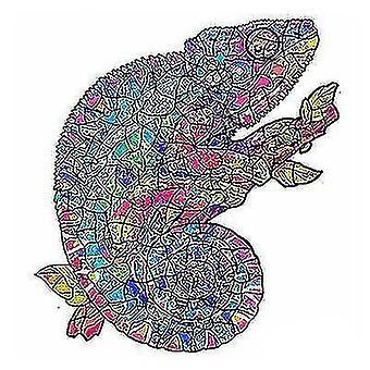 Skladačky skladačky chameleón drevené skladačky puzzle kus hra deti a5 darček #4775