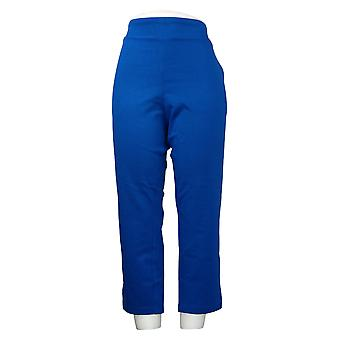 Belle By Kim Gravel Pantalones de mujer recortados Goldtone Cremallera Azul A305571