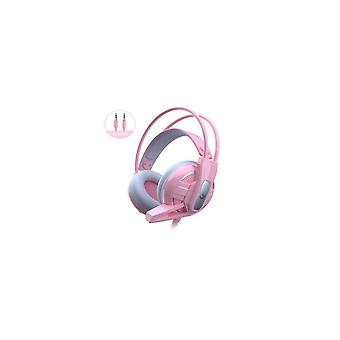 Girl Pink Wired Headset Computer Headphones Independent Channel Game Music Hifi Noise Cancelling Headphones
