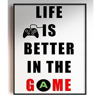 GnG Gaming A4 Ord Sitat Innrammede Plakater For Barn Soverom Kunstverk Livet er Bedre XB