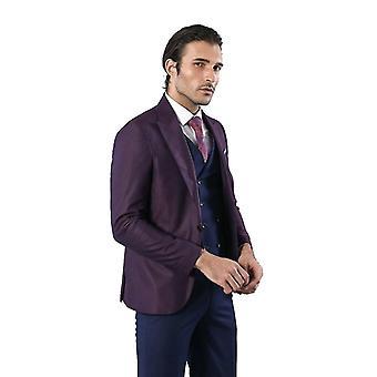 Burgundy suit combined blue vest | wessi
