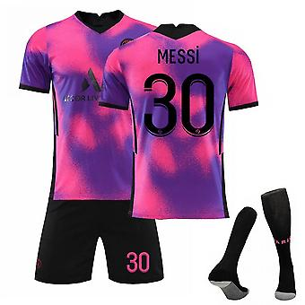 Messi #30 Jersey 2021-2022 Uusi kausi Pariisi Jalkapallo T-paidat Jersey Set For Kids Youths Cosplay