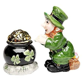 Lucky Green Leprechaun Found Pot of Gold Salt and Pepper Shakers Set