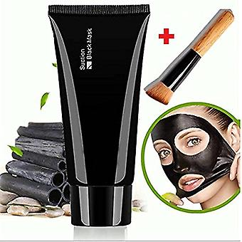 Gezichts masker zwart, gezicht Apeel zuivering masker diepe reinigingsmiddel mee-eter Acne Remover Peel off Mask + houten borstel