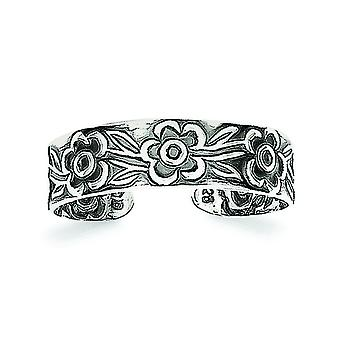925 Sterling Argento Solido finitura Fiori Toe Ring Gioielli Regali per le Donne - .8 Grams
