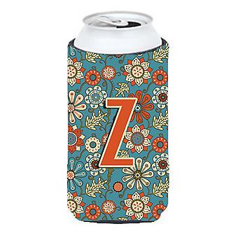 Letter Z Flowers Retro Blue Tall Boy Beverage Insulator Hugger