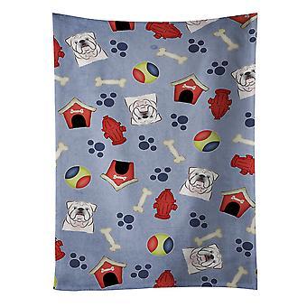 Dog House Collection White English Bulldog  Kitchen Towel