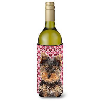 Hertta rakkaudesta ja Ystävänpäivä Yorkie pentu / Yorkshirenterrieri Viini pullo Bev