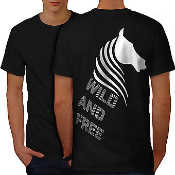 Wild And Free White Men BlackT-shirt Back | Wellcoda