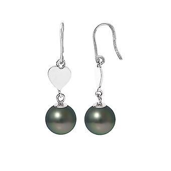 Örhängen Hjärta dinglande pärlor av Tahiti och Silver 925/1000