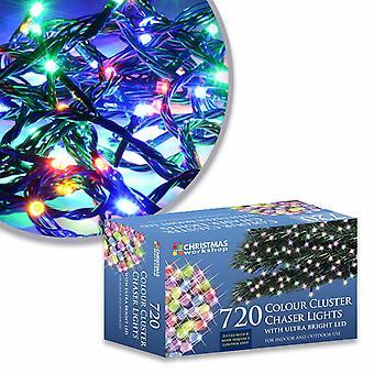 The Christmas Workshop Xmas 720 LED Chaser Cluster String Lights, Multi-Colour