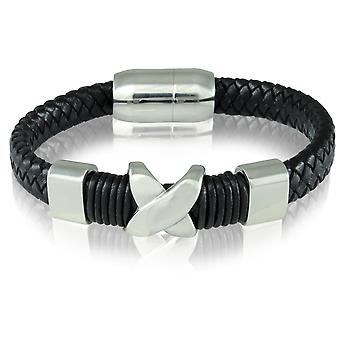 Skipper armband läder armband magnetlås svart 7221