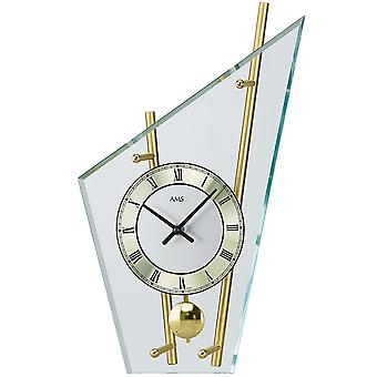 Table clock with pendulum quartz brass painted metal rods mineral glass