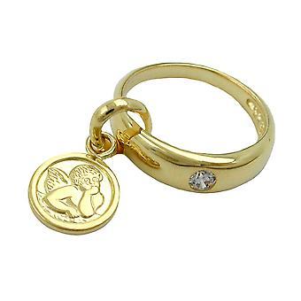 Battesimo battesimo gioielli in oro 375 ciondolo pendente, anello di battesimo con Angelo 9 KT oro