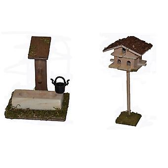 Nativity accessories cribs set fountain with a small Dovecote