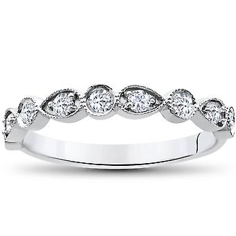 1/3Ct Stackable Diamond Wedding Ring 14K White Gold