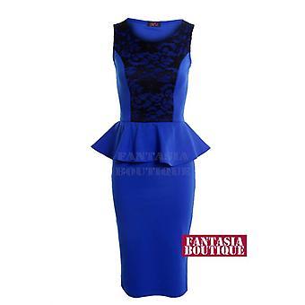 Nova malha sem mangas de senhoras inserir Bodycon Dress Peplum laço padrão Floral feminino
