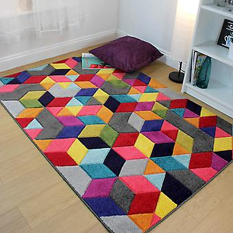 Spectrum Dynamic Multicoloured Modern Geomotric Cubed Rugs