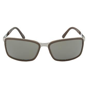 Porsche Design Design P8552 D Rectangular Sunglasses | Brown/Silver Frame | Grey Lens