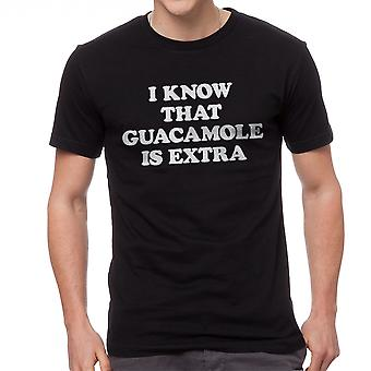 Humor I Know That Guacamole Is Extra Graphic Men's Black T-shirt