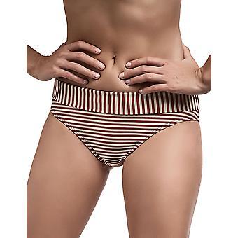 Marlies Dekkers 18184 Women's Holi Vintage Red Ecru Striped Swimwear Beachwear Bikini Bottom