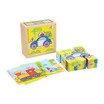 Block Puzzle Fahrzeuge in Schatulle, 9 Stück.