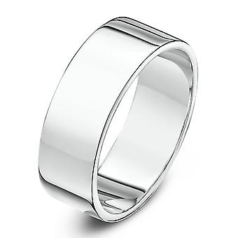 Star Wedding Rings 9ct White Gold Heavy Flat Shape 7mm Wedding Ring