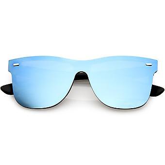 Futuristic Horn Rimmed Rimless Sunglasses Mirrored Shield Lens 59mm