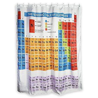 Badeforhæng trykte periodiske system hvid, lavet af 100% polyester. 180 x 180 cm.