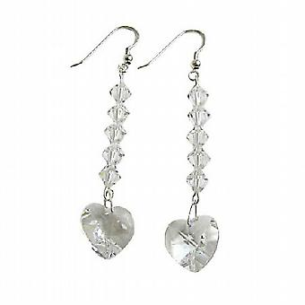 Swarovski Herz Kristall-Kronleuchter Silber 92,5 Haken Ohrringe