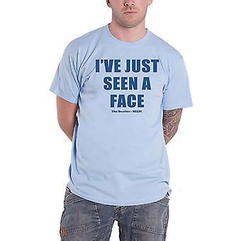 شعار النص البيتلز T قميص إيف فقط ينظر إلى الوجه الرسمية رجالي الضوء الأزرق