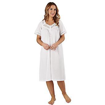 Slenderella ND3232 vrouwen katoen geweven White Night Gown Lounge Pyama