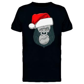 Gorilla With Santa Hat Tee Men's -Image by Shutterstock