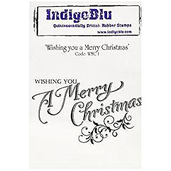 IndigoBlu Wishing You A Merry Christmas Mounted A6 Rubber Stamp