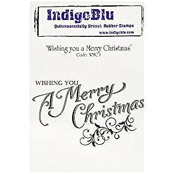 Indigoblu le deseándole una feliz Navidad montado A6 sello de goma