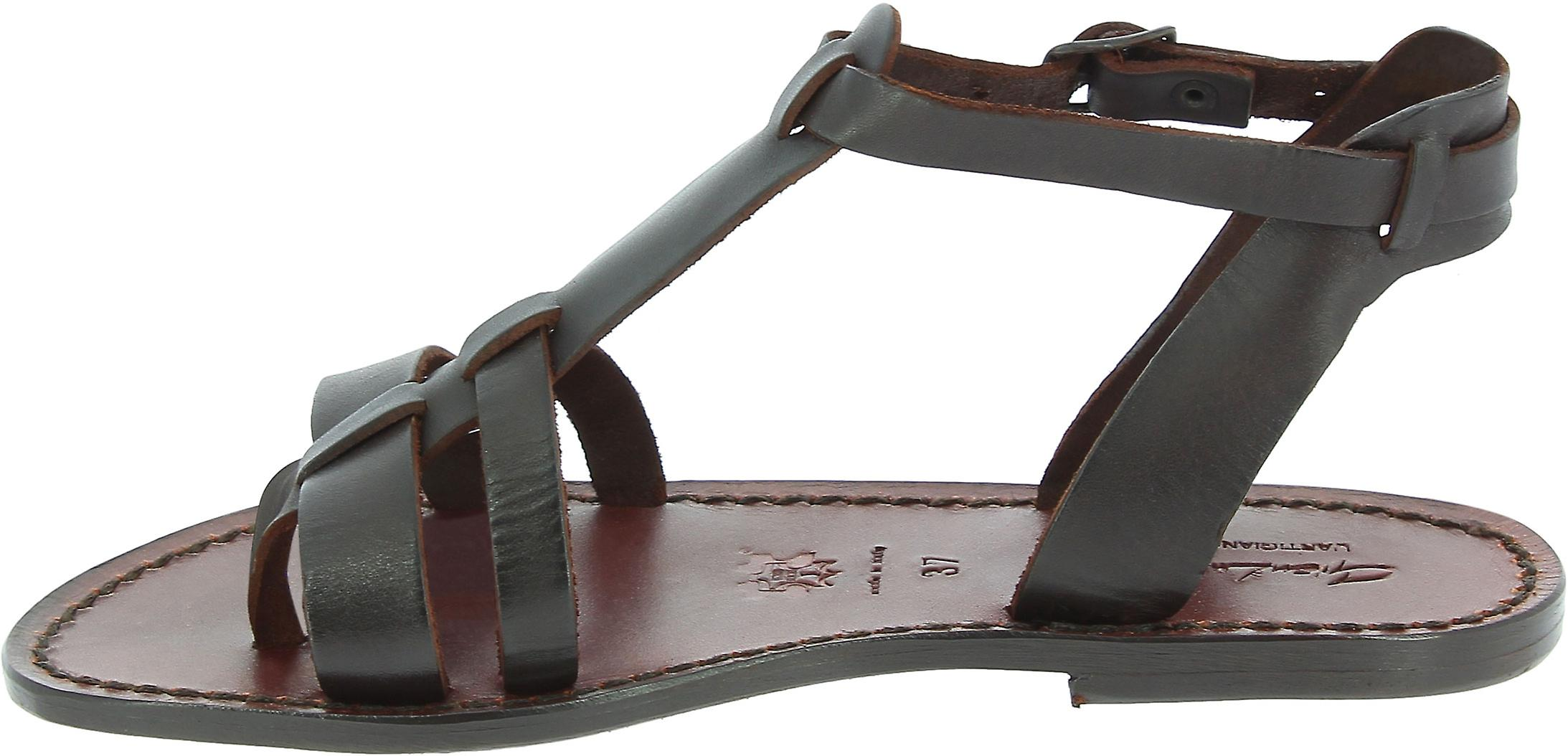 Women's leather flat brown sandals Handmade in Italy NQseG
