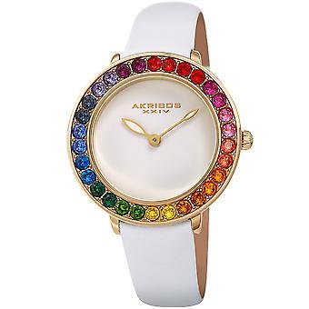 Akribos XXIV AKS191092WT orologio da polso con cristalli Swarovski da donna in quarzo arcobaleno