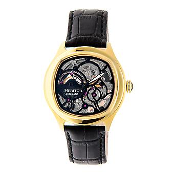 Heritor Automatic Odysseus Leather-Band Skeleton Watch - Gold/Black