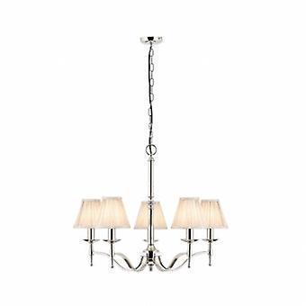 5 luz multi braço do teto pingente lustre de níquel polido