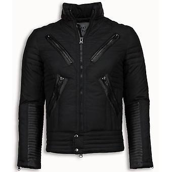 Quilted men's winter jacket-motorcycle jacket-Duck Down-Black