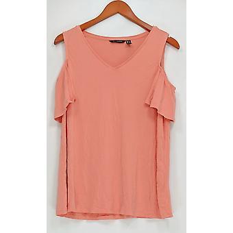 H par Halston Women-apos;s Top Knit Crepe V-Neck Cold Shoulder Pink A308098