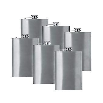 8oz stainless steel hip flask (qty 6) (stainless steel) groomsman wedding gift