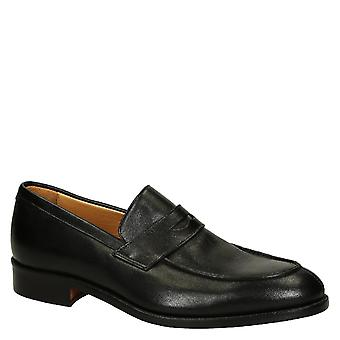 Leonardo Shoes Men's handmade penny loafers shoes in black calf leather