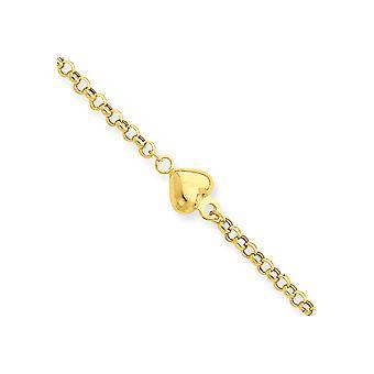 14k giallo oro lucido primavera anello Puff cuore 9 pollici con 1 in Ext cavigliera - 1,6 grammi