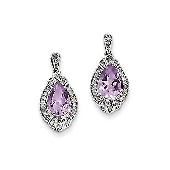 925 Sterling Zilver gepolijst Post Oorbellen Rhodium vergulddiamond en roze kwarts oorbellen sieraden geschenken voor vrouwen