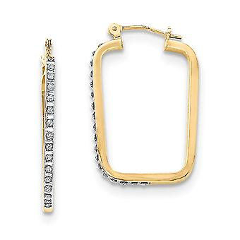 14k Yellow Gold Diamond Fascination Rectangle Hoop Earrings Jewelry Gifts for Women - .010 dwt