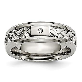 Titane 925 Sterling Silver ingravable Inlay Poli 1pt. Diamond 7mm Band Ring Bijoux Cadeaux pour les femmes - Taille de l'anneau: 8