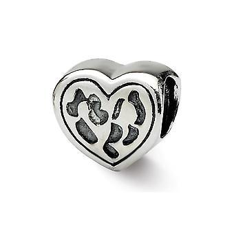 925 Sterling sølv antikk finish refleksjoner SimStars hjerte perle Charm